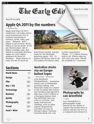 The Early Edition 2 er definitive min favorite app til iPad'en min. Hjelper meg å følge med på nyheter og ikke minst alle bloggene jeg følger med på.