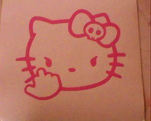 Hello Kitty Middle Finger Skull Bow Flipping Off Car Vinyl Window Decal Sticker | eBay