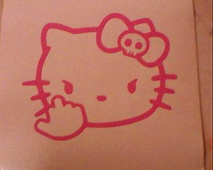 Hello Kitty Middle Finger Skull Bow Flipping Off Car Vinyl Window Decal Sticker | eBay