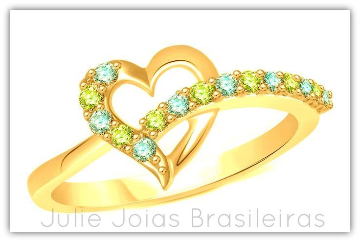 Aliança de noivado em ouro 750/18k , peridoto e água-marinha (750/18k gold  wedding engagement ring with peridot and acquamarine)