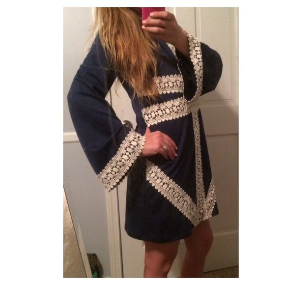 SOLDJudith March Navy Bell Sleeve Dress More info to come  Judith March Dresses Long Sleeve