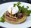 Mushroom tarts with poached eggs & watercress
