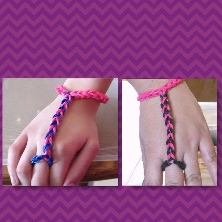 Pulsera De Gomitas Anillo con Pulsera/ How to make the finger bracelet with rubber bands