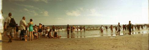 Tourists on the Beach, Coney Island, Brooklyn, New York City, New York State, USA Muursticker van Panoramic Images bij AllPosters.nl