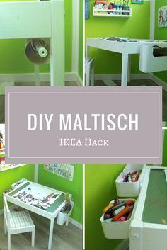 Kindertisch mit zwei Stühlen als Ikea Hack, DIY Maltisch der die Selbständigkeit von Kindern unterstützt