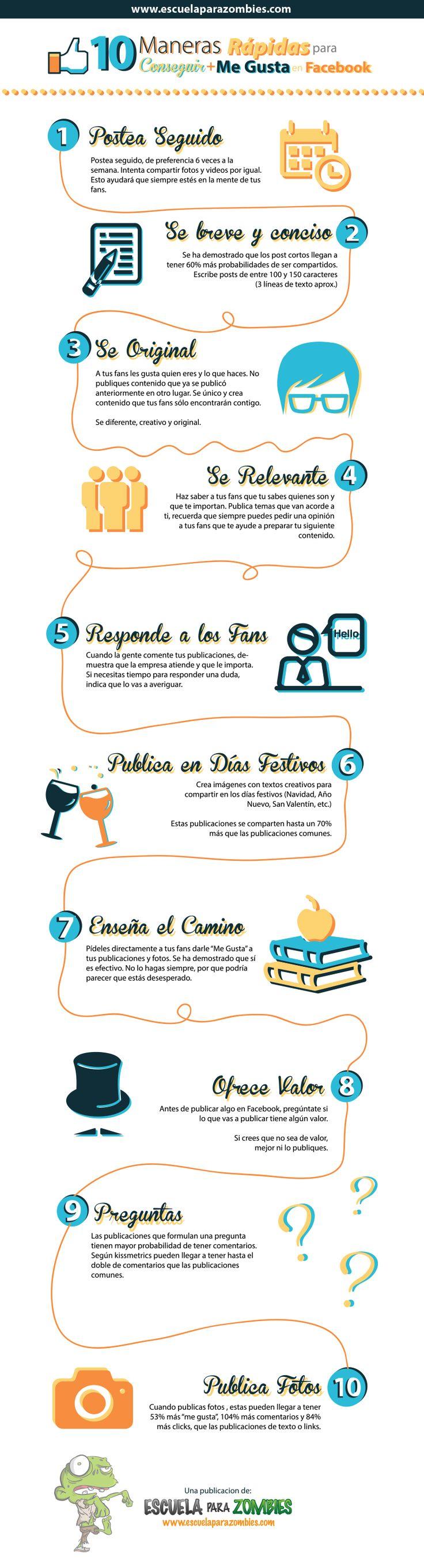 10 maneras rápidas para obtener más me gusta en Facebook. Infografía en español. #RedesSociales #MarketingOnline #InternetMarketing #CommunityManager #Infografia #CapacitaciónOnline