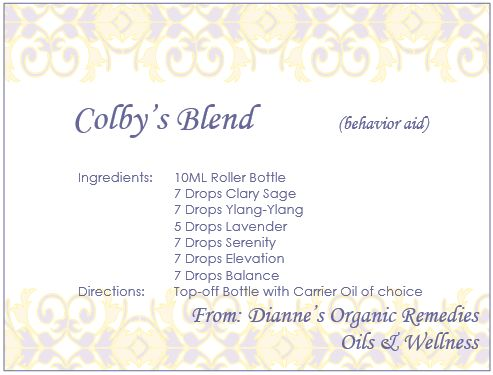 Colby's blend is used to aid affects of ADHD and ODD (oppositional defiance disorder)