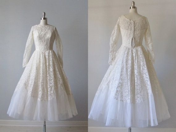 1950s Wedding Dress / 50s Tea Length Wedding by TheVintageMistress, $324.00