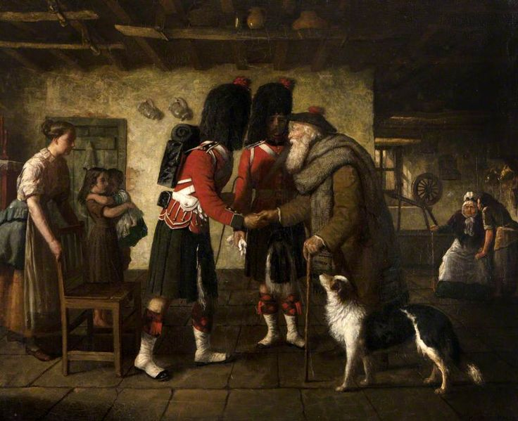 The Highlanders' Farewell by Hugh Cameron      Oil on canvas , 72.5 x 92 cm     Collection: The Black Watch Castle & Museum  This painting was presented by 'some officers who served under Sir D. Cameron' to the Officers, 1st Battalion in 1890.