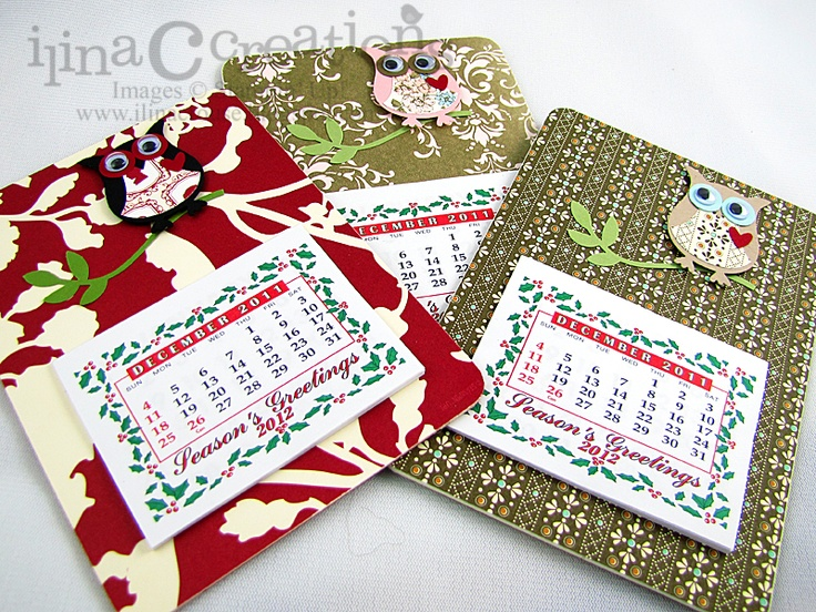 My Creations: Owl coasters magnet mini Calendars