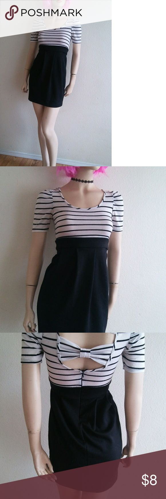 Striped bow back dress Size XS-S  *Same/next day ship!! 📦 *Bundles save money!! 💸 *Discounts on every bundle purchase!!🎉 *Free gifts with $5+ purchases!! 🎁 *Measurements upon request!!  *I recycle packages so if you would like fancy packaging let me know & I'll try to walk to the store to buy some!! ♻️ Charlotte Russe Dresses Mini