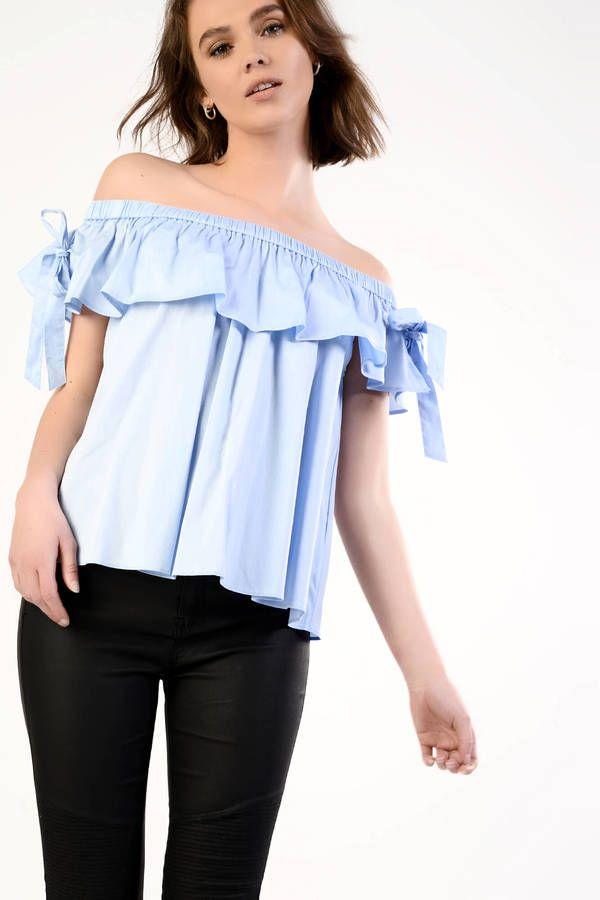 Glamorous Light Blue Bardot Top With Tie Detail