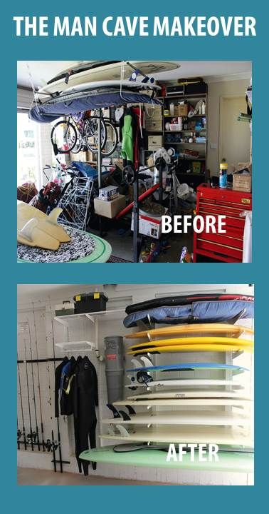 In this amazing makeover, Howards installed an elfa system to convert the garage into a man cave including storage for a large collection of surf boards for Blogger Sonia from Life Love and Hiccups.