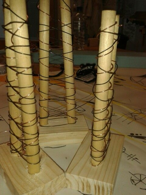 """My 3D sculpture inspired by 21st Century Architecture. This piece was inspired by """"structural expressionism"""", a form of architecture that celebrates the importance of supportive structures and enhances them by placing them in obvious positions."""