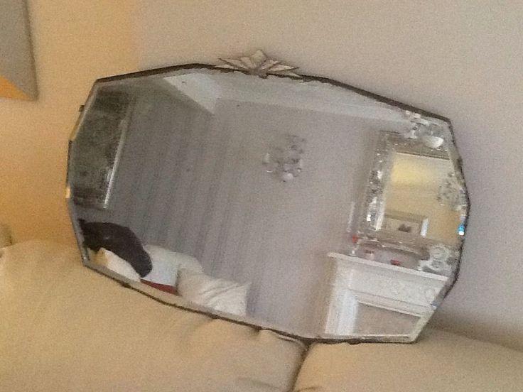 Vintage Shabby Chic Espejo de pared Espejo Biselado Sin Marco Art Decó década de 1950 | eBay