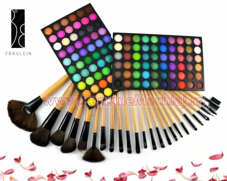 Trusa Farduri 120 culori Fraulein38 Rainbow Seven + 24 pensule machiaj lemn lacuit