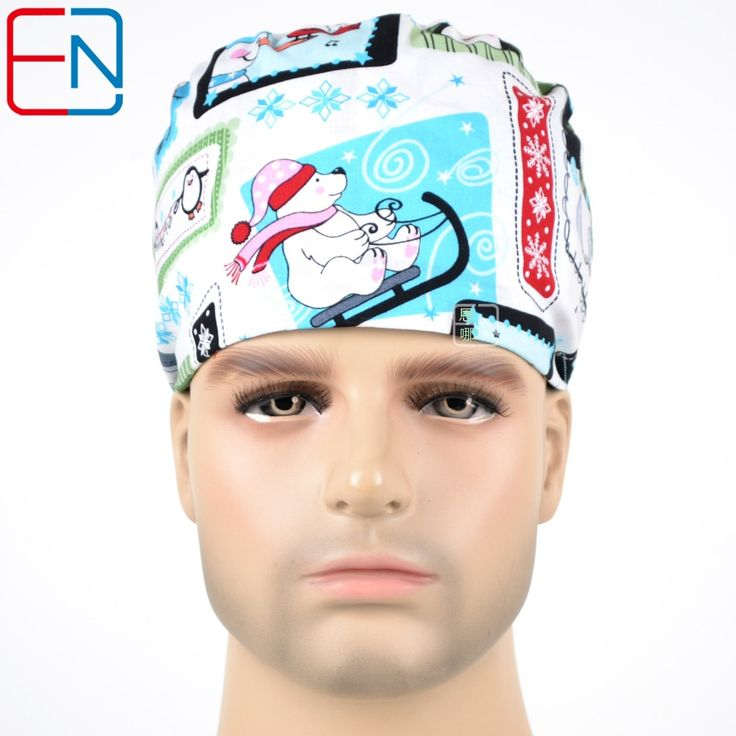 Hennar surgical caps for men in white with snowsMEDICAL CAPS limited edtion