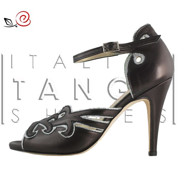 Woman tango Shoes in black leather and silver glitter fabric or in the colors/materials you like more!  http://www.italiantangoshoes.com/shop/en/la-rosa-del-tango/303-la-rosa-del-tango.html
