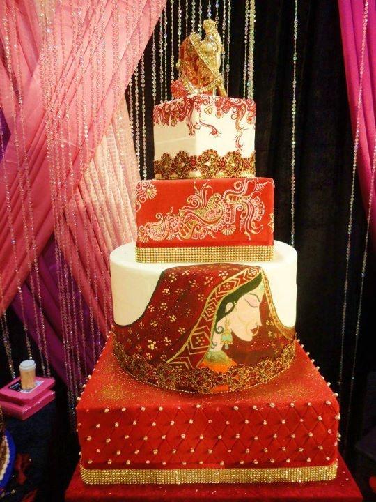 Henna design on bride cake for Indian