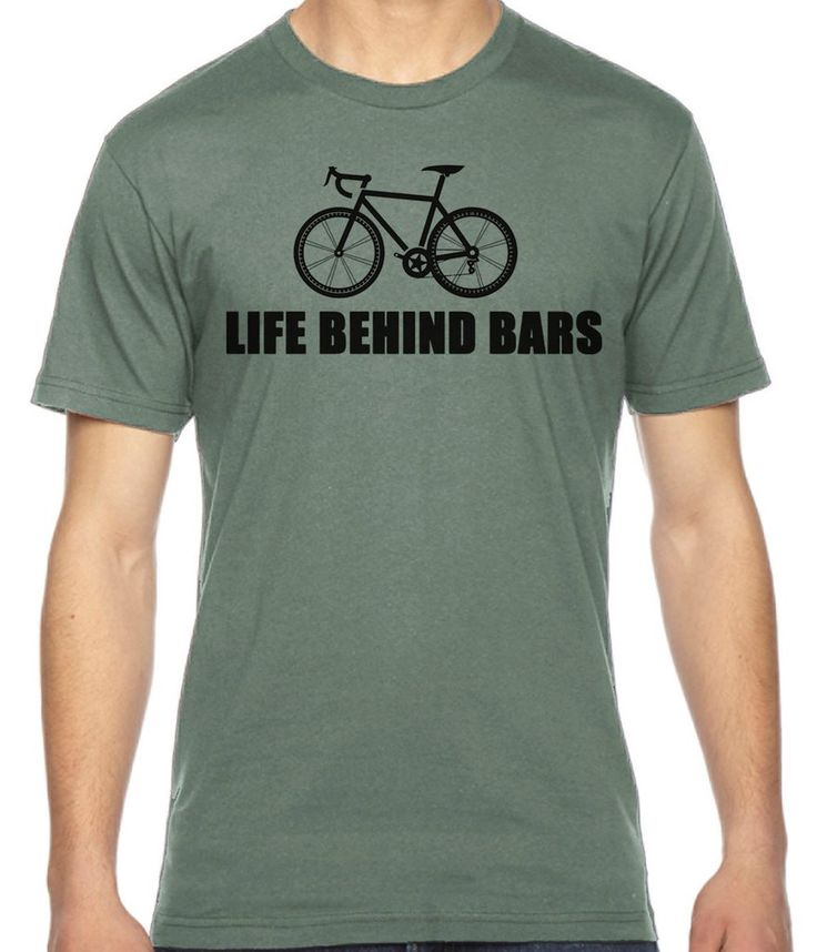 Life behind Bars, gifts for bicyclists, cycling gift, bike humor funny tees American Apparel 100% Cotton Fine Jersey T-Shirt RC14580