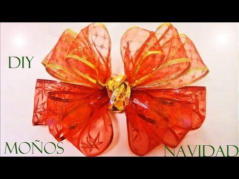 DIY moños de navidad fáciles y hermosos - DIY Christmas ribbons easy and beautiful - YouTube