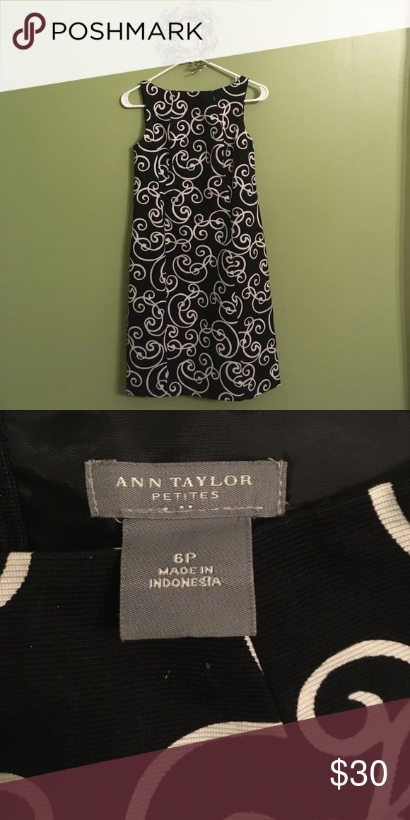 Ann Taylor Dress Petite Gorgeous and striking black and white patterned dress from Ann Taylor. Lined inside and zipper down the back. Dress up with heals or go casual with sandals. Ann Taylor Dresses Midi