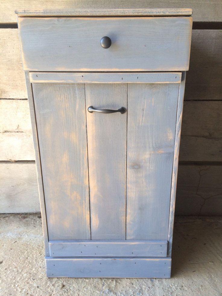 tilt out trash bin, farmhouse, trash can cabinet, dog food storage, wood laundry…