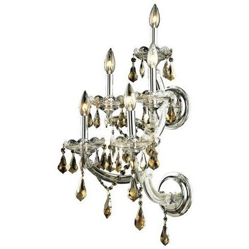 2801 Maria Theresa Collection Wall Sconce W12in H29.5in E11.5in Lt:5 Chrome Finish (Royal Cut Golden Teak)