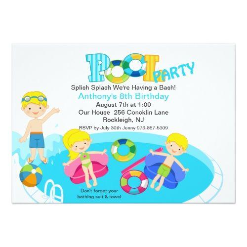 Pool Party Invitations Blue Kids Pool Party Birthday Invitation
