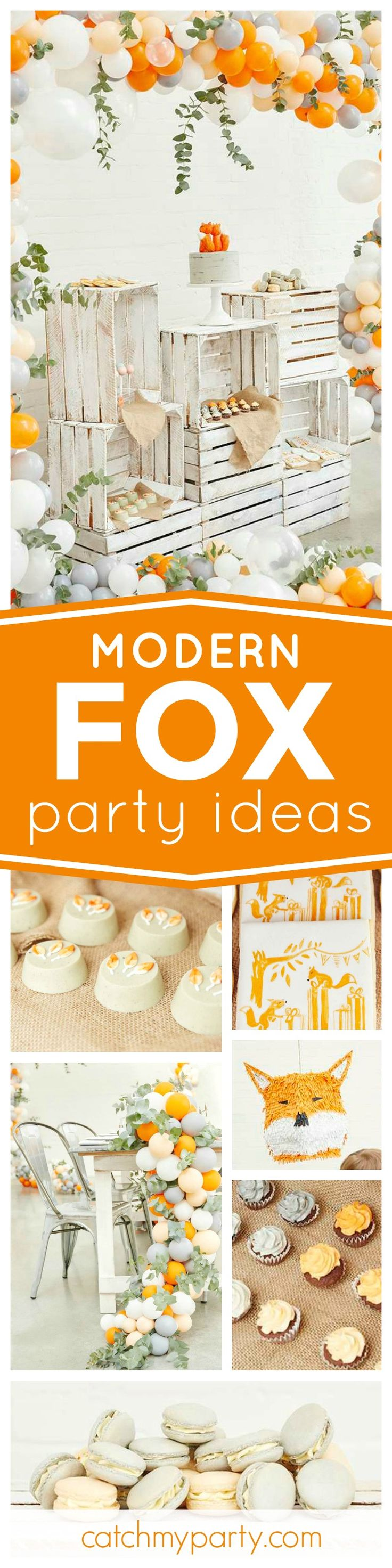 Don't miss this fantastic Modern Fox Woodland birthday party. The balloon decor is amazing!! See more party ideas and share yours at CatchMyParty.com