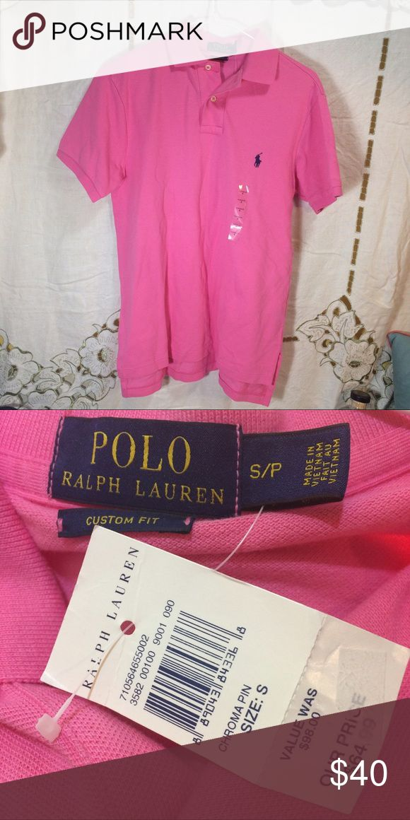 """Pink polo shirt nwt Men's size small pink polo shirt nwt. The chest measures 19"""" and this is 27"""" long. Polo by Ralph Lauren Shirts Polos"""