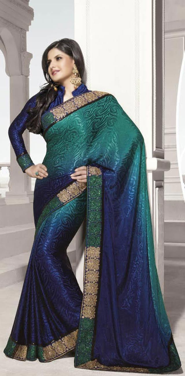 blue and green sari - Google Search