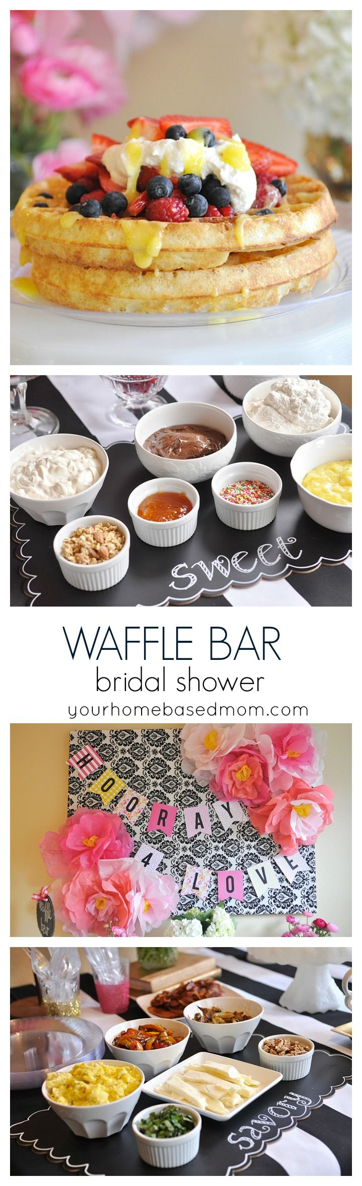Throw a Waffle Bar Bridal Shower! Lots of sweet and savory toppings. Using CHINET® CUT CRYSTAL® makes clean up a breeze! #ad #BH @yourhomebasedmom.com