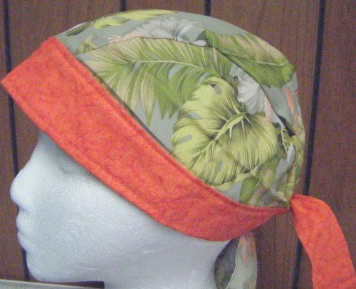 Hawaiian Pale Olive Green with Hibiscus Flowers  in Orange
