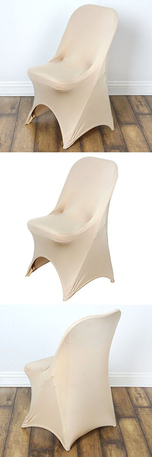 BalsaCircle 10 pcs Spandex Folding CHAIR COVERS Wedding Supplies - Champagne