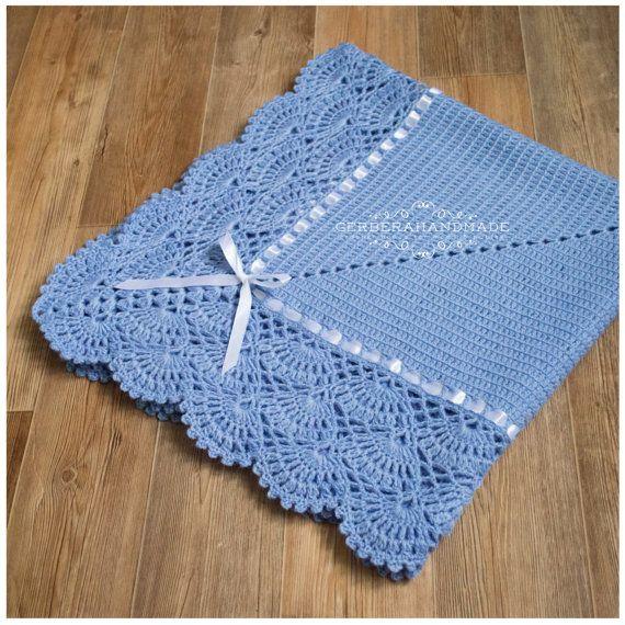 Jeans crochet baby blanket Baby Boy Blanket Baby wrap blanket MADE to order