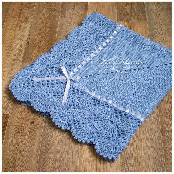 Jeans crochet baby blanket Baby Boy Blanket by GerberaHandmade