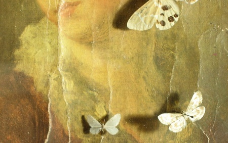 """Closeup of Ismo Kajander's work """"La femme aux papillons"""" taken by our conservator"""