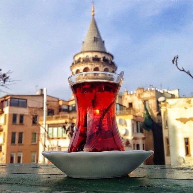 Turkish traditional tea and the Galata Tower make up for the perfect combination!