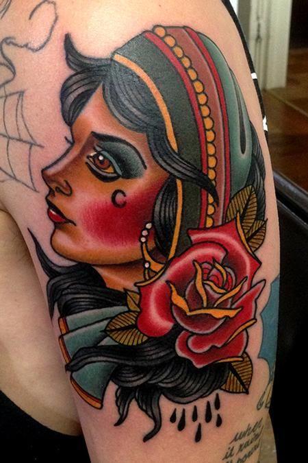 Gypsy Girl n Rose Tattoo On Shoulder
