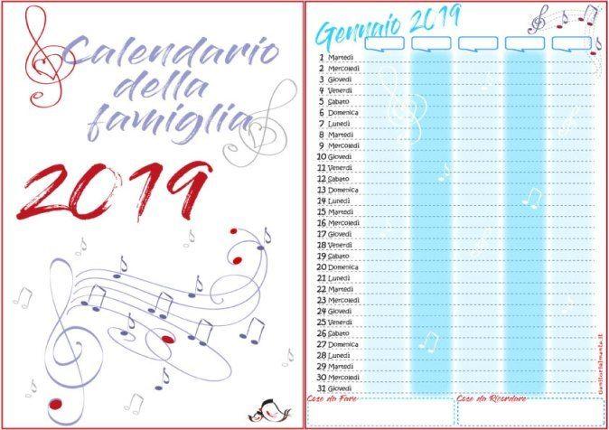 Chi Ha Inventato Il Calendario.Calendario Della Famiglia 2019 Da Stampare Gratis