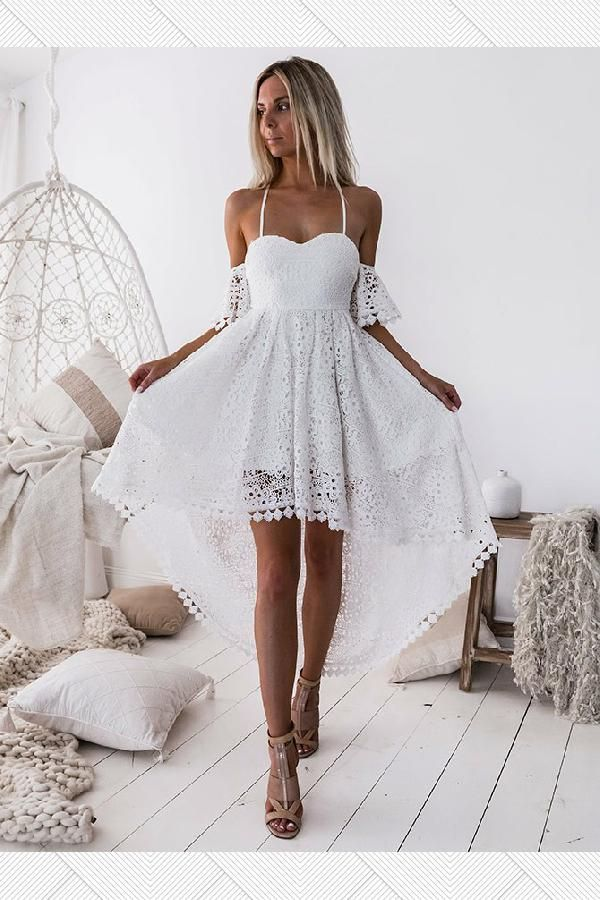 Outlet Fetching White Party Dress, White Lace Party Dress, Homecoming Dress High Low, Homecoming Dress A-Line