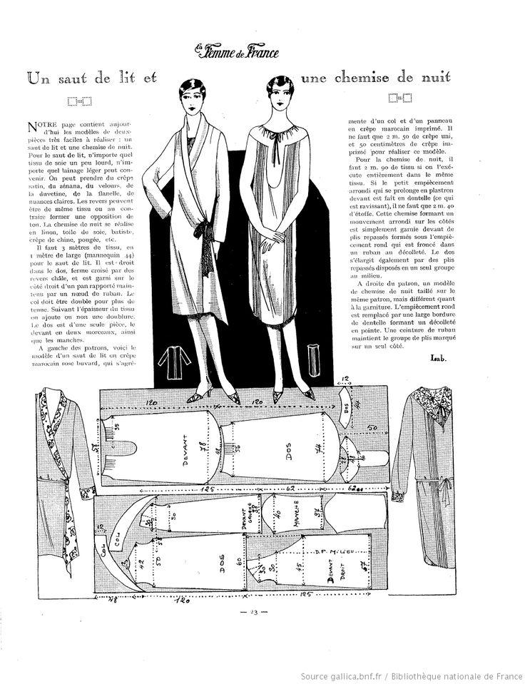 Chemise de nuit et Robe de chambre (La Femme de France 15/01/1928)