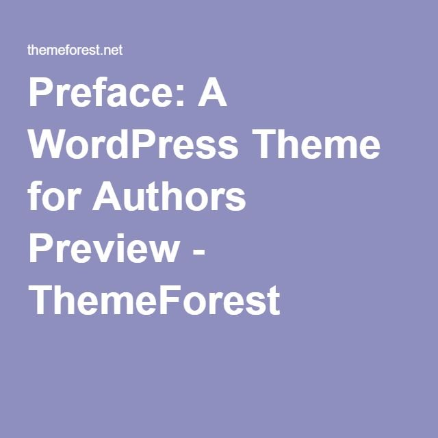 Preface: A WordPress Theme for Authors Preview - ThemeForest