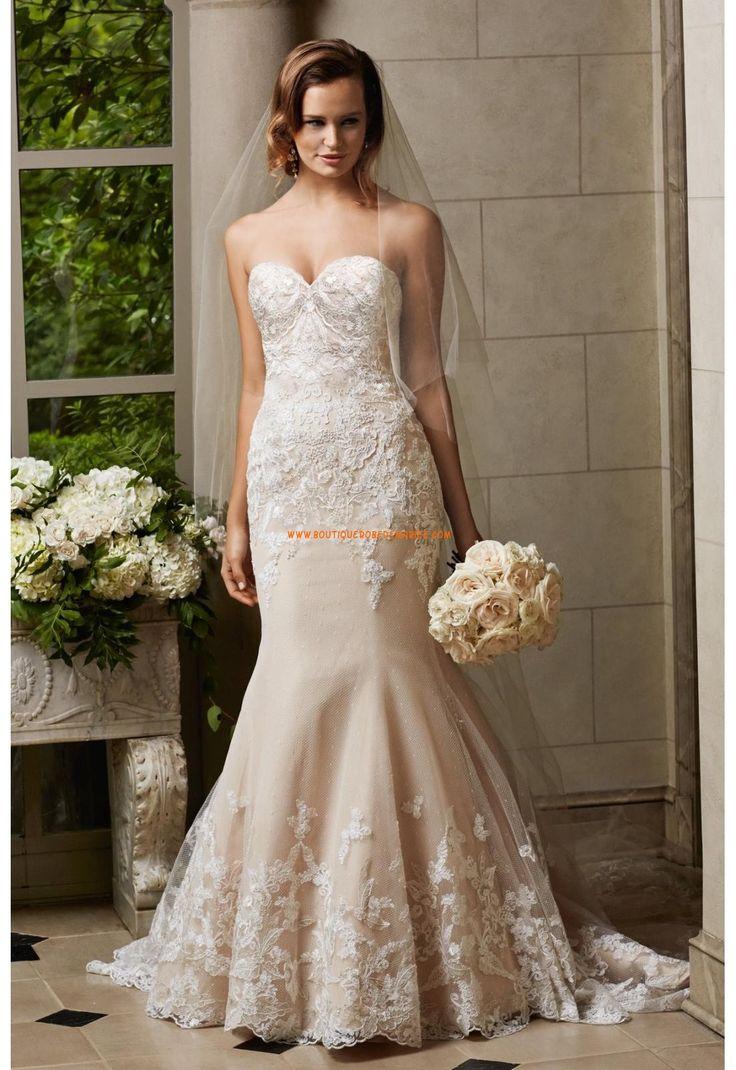 Robe de mariée sirène col en coeur tulle applications