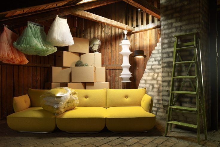 love the yellow, the ladder and the boxes - but most of all the crinolines!