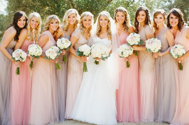 Long Neutral Bridesmaids Dresses Shades of Blush, Pink and Gray. Mixed and matched chiffon-Jenny Yoo-Annabelle- Adrianna Papell