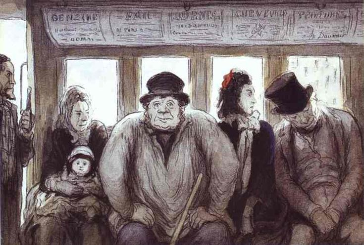 In the Omnibus, 1864  Honore Daumier