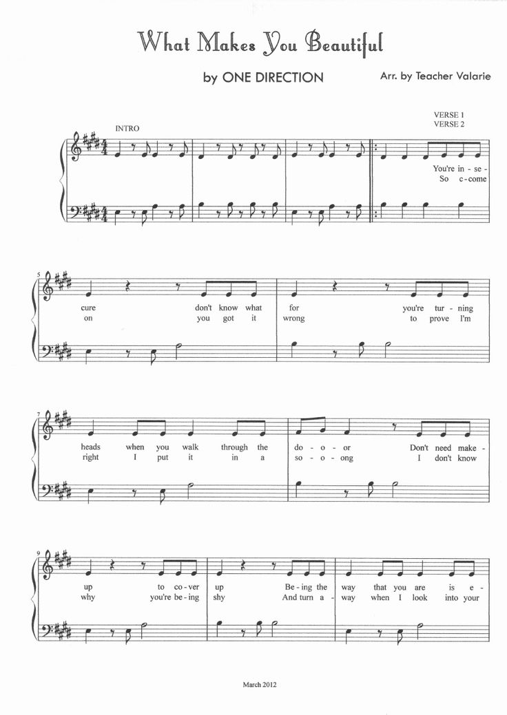 What Makes You Beautiful ONE DIRECTION Piano Sheet Music Score | Scribd