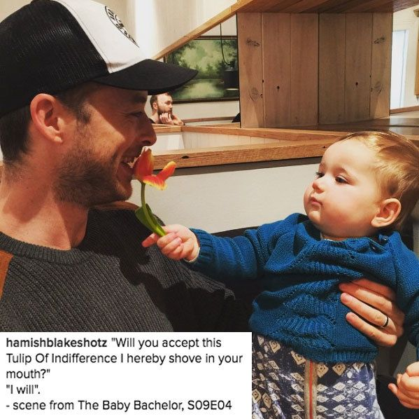 "When Hamish helped Sonny fine-tune his ""Baby Bachelor"" skills: 